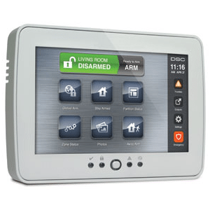 Residential burglar alarm wall mounted control panel.